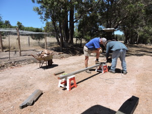 Ken & Loz start building the chook house.