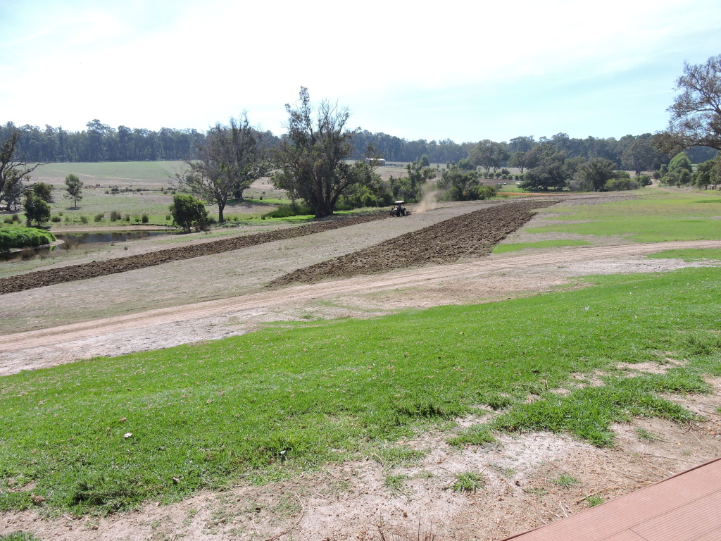 breaking the ground for re-seeding House paddock